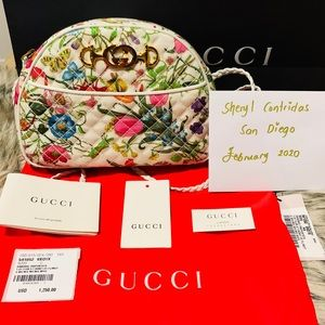 NEW Gucci Quilted Floral Print Dome Crossbody Bag